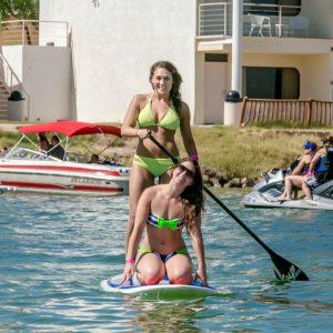 girls on paddleboard in Lake havasu